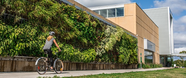 A woman in a grey t-shirt and black pants rides a bicycle in front of a living wall at NSCC Ivany Campus.