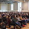 An audience of 500 people, including students, selected industry and community partners and government officials, attended Peace by Chocolate founder and CEO Tareq Hadhad's Feb. 19 presentation at the Nova Scotia Community College (NSCC) Kingstec Campus gymnasium in Kentville.