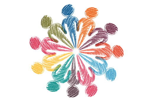 drawing of abstract people all different colours in a circle